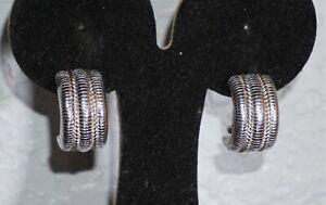 JUDITH RIPKA Sterling Silver 925 Rope Design Earrings 15.8g Omega Back
