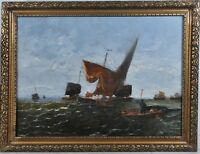 """Hans Wagner (1866-1940) signed as """"P. Cerneri"""" : Fisherboats on the stormy sea"""
