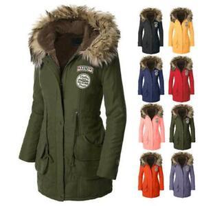 Womens Faux Fur Trim Hood Long Winter Parka Coat