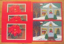 5 Hallmark Christmas Season'S Greetings Holiday Cards + Env. House, Wreath Nice!