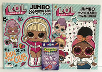 New 2 LOL Surprise Jumbo Coloring, Activity & Word Search Book + Glitter Crayons