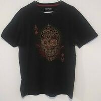 Lucky Brand Black Embroidered Ace Of Spades Sugar Skull T Shirt Size L