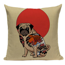 Tattoo Pug JP8 Cushion Pillow Cover Japanese Asian Chinese Oriental Boston