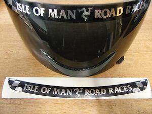Isle of Man Road Races - TT Visor Decal Sticker - BLACK + CHROME