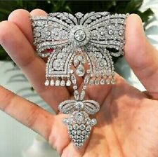 Beautiful Bow Style CZ Brooch Pin 925 Sterling Silver Solid Highend Party Wear