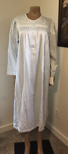 Collette by Miss Elaine Satin Nightgown Long Sleeve Embroidered Lace XL NWT