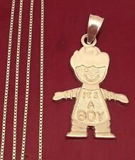 14k Yellow Gold Boy New Born Baby Tiny Charm Pendant Box chain 18 INcH Boys