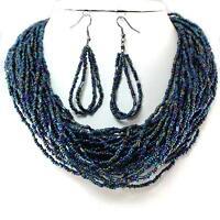 Blue AB Layered Necklace Earrings Seed Bead Jewelry Set Handmade Bali