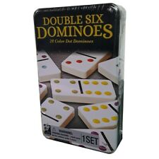 Vintage 1998 Cardinal Double Six 28 Collectors Dominoes Color Dot Tin Collectabl