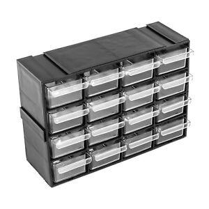 16 transparente Schubladen Regaleinheit Kleinteilemagazin endlos Wandregal Lager