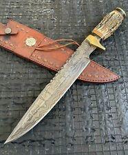 "SUPERB 15.15"" HANDMADE BEAUTIFUL DAMASCUS STEEL HUNTING BOWIE KNIFE W/SHEATH(6-3"