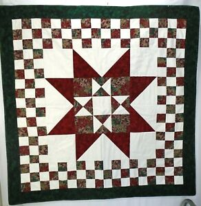 """Green Maroon Purple Christmas Quilted Wall Hanging Decoration Table Topper 40"""""""