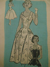 Vtg Mail Order Sweetheart Neck Dress Sewing Pattern 4722 Sz 12/32 Uncut 50's era