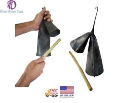 Gankogui Double Bell with Stick - Iron Cow Bell from Ghana - Medium