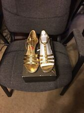 Ladies low wedge gold embossed strap top open toe shoes