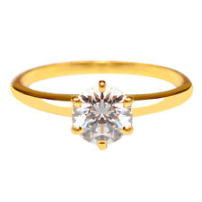 14Kt Yellow Gold Solitaire Anniversary Ring 1.80 Carat Round Shape With Real