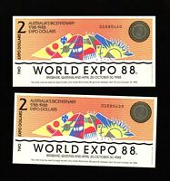 World Expo 1988 Australian Banknote Two Dollar pair sequential numbers