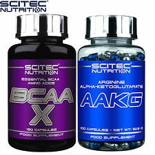 BCAA X 120Caps & AAKG 100Caps Arginine Nitric Oxide Booster Amino Acids Recovery