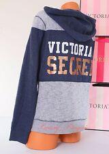 NWT VICTORIA'S SECRET Black Logo Zip-Up VS Hoodie Hooded Jacket L Blue Gray