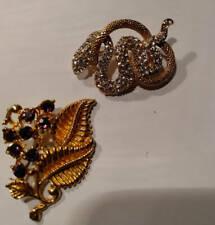 Vintage Serpent Brooch  & Floral  Brooch Both Gold Tone Rhinestone