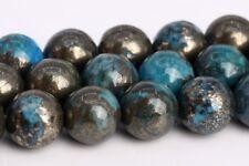 "8MM Natural Aqua Blue Pyrite Grade AAA Round Gemstone Loose Beads 15.5"""