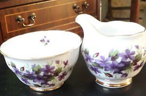 Vintage Colclough Violets Bone China Milk Jug And Sugar Bowl