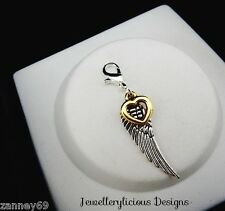 Silver & Gold Love And Guidance Wing Clip On Charm For Bracelets Necklaces