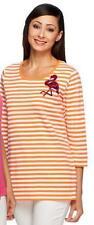 Quacker Factory Size 1X Orange Stripe w/Flamingo Summertime T-shirt