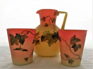 Marvelous Queen's Burmese Pitcher & Two Cups. Hand painted, Thomas Webb