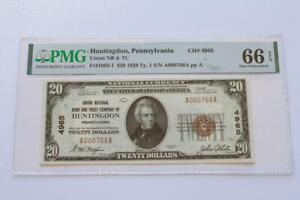 1929 $20 Union National Bank & TC Huntingdon PA - PMG Gem Uncirculated 66EPQ C2C