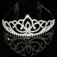 Wedding Party Bridal Bridesmaid Flower Girls Crystal Crown T Headband Heart Q3G4