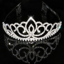 Wedding Party Bridal Princess Crystal Rhinestone Crown Headband Tiara Hair Clip