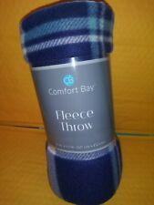 Dark Blue and Aqua Tartan design Fleece 50 X 60 Blanket Comfort Bay