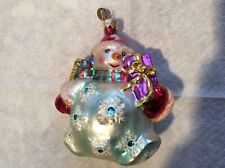 """Christopher Radko """"Chubby Cheer"""" Full Size Snowman With Gift"""