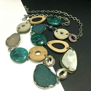 New CHICO'S Long Silver Statement NECKLACE Teal Blue Green Drusy & Glass ii131m