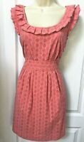 Juicy Couture Size 4 Small S Woman's Pink Ruffle Sleeveless Casual Cotton Dress