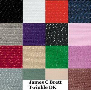 James C Brett Twinkle DK Knitting Wool Yarn Double Knit 100g Ball 19 Shades