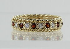 9ct Yellow Gold Garnet and CZ Full Eternity Vintage Ring REF2256