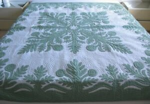 Hawaiian quilt FULL/TWIN BEDSPREAD BREADFRUIT 100% hand quilted/hand appliquéd