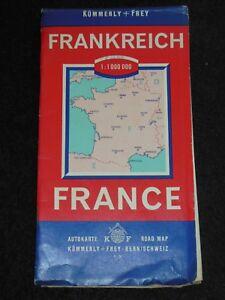 Vintage Kummerly Folding Travel Map of France (1959) Francia, Carte Automobile