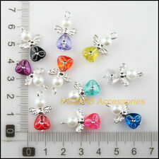 6 New Charms Mixed Crystal Round Pendants Connectors Tibetan Silver Tone 10x16mm