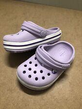 Iconic Crocs Comfort Crocband Clogs Baby/ Toddler Girl Size C5 Lavender VGC