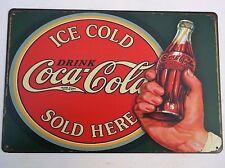 COCA Cola design 3 in metallo latta piastra segni Vintage Cafe Bar Cucina Retrò Divertente