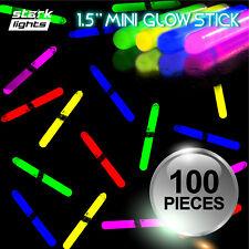"100 PCS 1.5"" Mini Glow Sticks 6 Assorted Colors Fishing Glo Light Kids DJ Party"