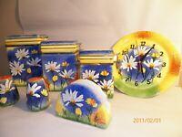 MCM Ceramic Daisy Sponge Paint 7 Piece Kitchen Canister Container Jar Set Retro