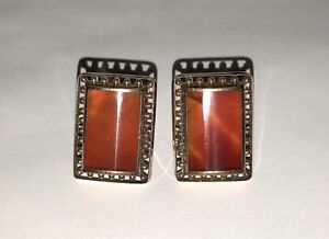 """VICTORIAN GOLD PLATED AND AGATE CABOCHON 15/16"""" CUFFLINKS circa 1880"""