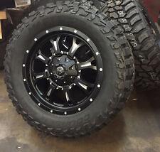 "20"" Fuel D517 Krank Black Wheels 35"" Mud Tires 8x180 2011 and up 8 lug Chevy GMC"