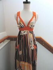 NWT $188 FRENCH CONNECTION ARTISTIC MAXI MIDI GRAPHIC PRINT CHIFFON DRESS 0 (XS)