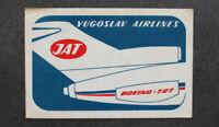 RARE BOEING-727 Sticker JAT Airlines Yugoslavia Serbia Belgrade Airport