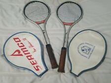 2 Vintage Ken Rosewall Seamco Tennis Racquet Aluminum  4-1/2 M & L  w/Covers